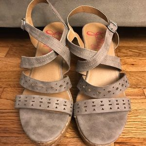 Jellypop Gray Suede Cutout Strappy Wedges